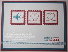 Sent With Love, airplanes, Postage Stamp Punch. Created by Darla Eigenschink.   ~TooCoolStamping.com