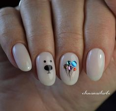but cute ideas. Id partner the balloons with a brighter playful color and the bear with something wintery. Love Nails, Pretty Nails, My Nails, Minimalist Nails, Shellac Nails, Nail Manicure, Fabulous Nails, Perfect Nails, Christmas Nails