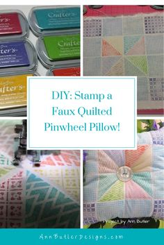 Stamp a Faux Quilted http://annbutlerdesigns.com/faux-quilted-pinwheel-pillow/Pinwheel Pillow Tutorial