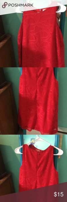 Loose fitting red recruitment dress Very loose fitting. Only worn once. Solo cup red and covered in lace Miami Lace Dresses Asymmetrical