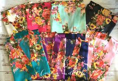 Sale set of 7  floral satin bridesmaid robes gowns by BrideTribes