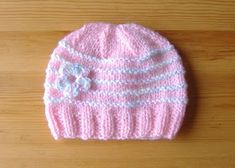 With stripes ..... endless possibilities .......                       knitted baby girl hats         Newborn Baby  Hats With 3, 4 or 5 ga...