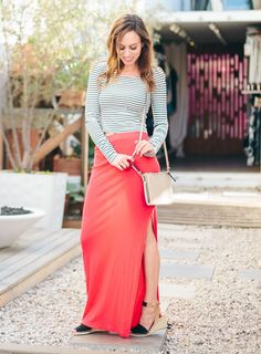 Casual Slit - Stripe top, red maxi skirt - Spring style