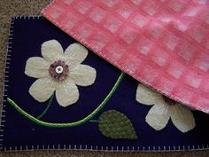 Wool Felt Applique Table Runner with Flowers by Scissaroo on Etsy