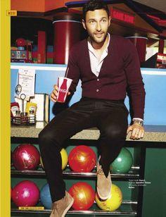 maroon cardigan, black pants, nice shoes.