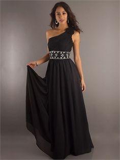 One-shoulder Column Black With Sequins Belt Prom Dress PD0445 www.simpledresses.co.uk £112.0000