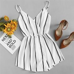 Wrap Casual Vertical Striped Romper Summer V Neck Playsuit Mid Waist Rompers Girls Fashion Clothes, Teen Fashion Outfits, Look Fashion, Girl Fashion, Girl Outfits, Clothes For Women, Trendy Fashion, Fashion Hair, Womens Fashion