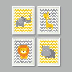Safari Nursery Art Print Set of Four 11x14 - Giraffe, Elephant, Hippo, Lion - Mustard Yellow and Grey/Gray - Chevron Stripes - Zoo Animals