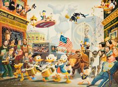 """""""July Fourth in Duckburg"""" oil painting by Scrooge McDuck's creator Carl Barks"""