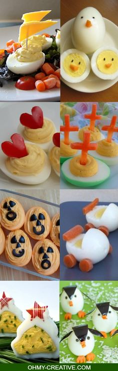 30 Creative Deviled Egg & Hard Boiled Egg Holiday Ideas for parties and celebrations including baby showers - fun for kids too!  |  OHMY-CREATIVE.COM