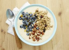 Enjoy your smoothie in a bowl with this creamy peach delight. Topped with the lemony berry crunch of Cascadian Farm Organic Lemon Blueberry Granola, this bowl will make breakfast, delicious.