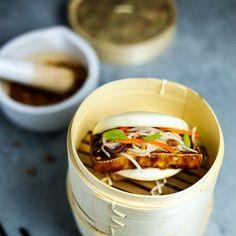 Vegan Steamed Bun (Gwa Bao) Recipe with shallots, garlic, soy sauce, rice wine, water, chinese five-spice powder, brown sugar, oyster sauce, soft tofu, pickled radish, roasted peanuts, steamed bun