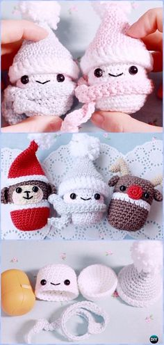 Crochet Kinder-Surprise Container Snowman Free Pattern & Video - Amigurumi Crochet Snowman Stuffies Toys Free Patterns