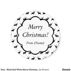Deer - Black And White Merry Christmas Sticker