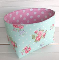 Organizer Basket,Fabric Bin,Storage Bin,Shabby Chic Nursery Decor,Fabric Basket Bin,Flowers,Home Decor,Roses,Aqua Blue,Pink - Shabby Chic
