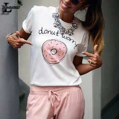 """Lei-SAGLY New! """"donut worry"""" Letter With Doughnut Printed White T shirts Harajuku Short Sleeve Casual Kawaii T-shirt Harajuku, Printed Shorts, Patterned Shorts, Tee Shirts, Tees, Shirt Sale, Kawaii, Types Of Sleeves, Short Sleeve Tee"""
