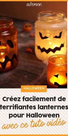 Creez des lanternes terrifiantes pour Halloween avec des enfants #Halloween #lanterne #enfant #citrouille #peur #tuto #diy #table #fete #gouter #aufeminin Diy Halloween, Bricolage Halloween, Toussaint, Stage, Scary Cakes, Lantern Diy, Home Made, Halloween Diy