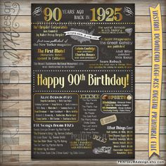 90th Birthday Gift 1925 Instant Download Printable Chalkboard Poster Sign, 90th Birthday Poster, 90 Years Ago USA Events, Born in 1925 {PRINTS} by MA Design  https://www.etsy.com/listing/252958362/90th-birthday-gift-1925-instant-download