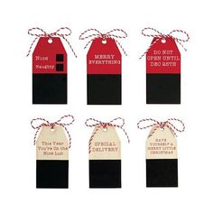 """#Mud #Pie - #Chalkboard & #Wood #Gift #Tags - #Pack of #6 Six #wood #tags hang with twisted red and white cord Features etched sentiments above personalizable #chalkboard area. Sayings include: """"This Year You're on the Nice List,"""" a """"NAUGHTY"""" or """"NICE"""" check box, """"Have yourself a MERRY LITTLE CHRISTMAS,"""" """"MERRY EVERYTHING,"""" SPECIAL DELIVERY"""" and """"DO NOT OPEN UNTIL DEC. 25TH."""" https://sports.boutiquecloset.com/product/mud-pie-chalkboard-wood-gift-tags-pack-of-6/"""