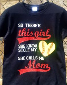 So theres this girl Softball Shirt. Glitter lettering used for this girl, Mom and Softball stitching. Rhinestones inside of Softball Stitching. Softball Mom Shirts, Softball Crafts, Softball Quotes, Girls Softball, Baseball Mom, Baseball Shirts, Sports Shirts, Softball Stuff, Sports Mom