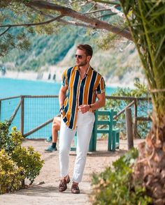 Chill outfit at the coast line in Manarola, Cinque Terre 🇮🇹 A bit different from my other looks, what do you guys think? Summer Outfits Men, Stylish Mens Outfits, Indian Men Fashion, Mens Fashion, Style Fashion, Men Looks, Style Brut, Formal Men Outfit, Men With Street Style
