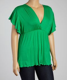 Another great find on #zulily! Green Angel-Sleeve Top - Plus #zulilyfinds