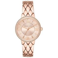 Michael Kors Camila Rose Gold-Tone Watch ($250) ❤ liked on Polyvore featuring jewelry, watches, rose gold tone watches and rose gold tone jewelry
