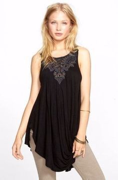 NWT Free People New World Jersey Aiden Black Tunic Top Embroidered Women's Small #FreePeople #tunic