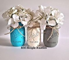 Rustic Home Decor, Painted Mason jars Nursery Decor, bathroom decor, bathroom set, housewares, centerpiece, unique nursery decor, mason jars by RMSimpleRustics http://audrisnursery.com/s/rustic-home-decor-painted-mason-jars-nursery-decor-bathroom-decor-bathroom-set-housewares-centerpiece-unique-nursery-decor-mason-jars-by-rmsimplerustics/