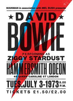 Fans of the great man might appreciate this David Bowie Ziggy Stardust concert poster by The Indoor Type. Rock Posters, Band Posters, Music Posters, Ziggy Stardust, Vintage Concert Posters, Vintage Posters, Retro Posters, Concert Rock, David Bowie Art