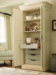 River House Collection- Utility Cabinet with four tray drawers and two adjustable wood shelves in River Boat finish
