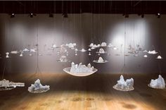 Emily Nachison, solo exhibition Long Lost, at Kutztown University's Marlin and Regina Miller Gallery.  Installation, crystal, translucency, space, suspension.