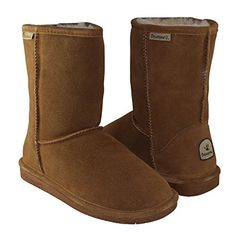 BEARPAW Women's Emma Short Shearling Boots 608-W Hickory (Chestnut) (10) >>> Read more reviews of the product by visiting the link on the image.