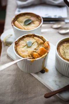 These Mini Pumpkin Pot Pie are the perfect vegetarian Thanksgiving main dish. They also make great weeknight meals as they can be prepped ahead of time.