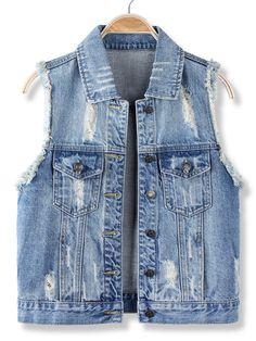 Casual Blue Sleeveless Vest Jean Denim Jacket at Banggood
