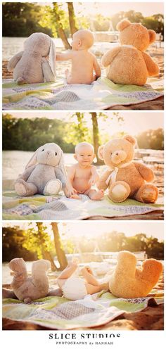 Adorable baby photo session with teddy bears