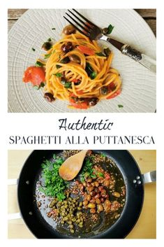 Spaghetti alla puttanesca is a really tasty classic Italian pasta recipe which is made with anchovies in Lazio and without anchovies in Naples. Italian Spaghetti Recipe, Spaghetti Recipes, Italian Pasta, Seafood Recipes, Pasta Recipes, Dinner Recipes, Noodle Recipes, Great Recipes, Healthy Recipes