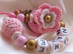Schnullerkette mit Namen ❀ Blume ❀ Ahorn//Mint
