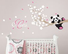 Panda and Cherry Blossom Branch with Custom Name Monogram, Panda Decal, Panda Vinyl Wall Decal for Nursery, Kids, Childrens Room on Etsy, $42.00
