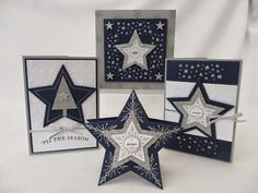 "Many Merry Stars, Stars Framelits, Tree & Confetti Stars border punches, Silver 1/8"" Taffeta Ribbon, Silver Glimmer Paper, Lucky Stars EF"