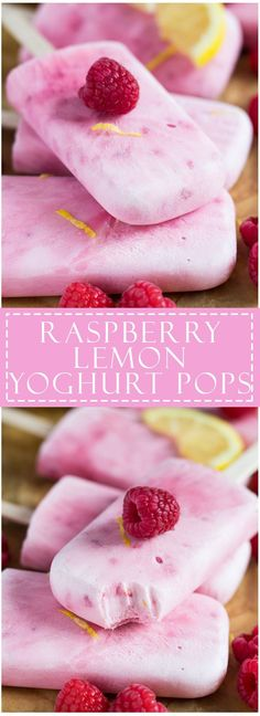 Raspberry Lemon Greek Yoghurt Popsicles - Deliciously creamy Greek yoghurt popsicles infused with raspberries and lemon. Quick and simple to make, and only 4 ingredients! Delicious Desserts, Dessert Recipes, Yummy Food, Cake Recipes, Dessert Ideas, Bread Recipes, Frozen Desserts, Frozen Treats, Weight Watcher Desserts