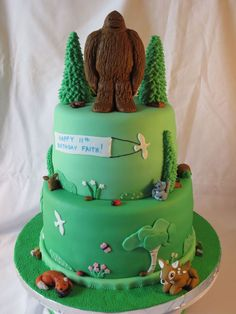 Hi This Cake Was For My Daughters Birthday She Loves The Finding Bigfoot Show… Bigfoot Birthday, Bigfoot Party, Dinosaur Birthday Cakes, Combined Birthday Parties, 6th Birthday Parties, Birthday Ideas, Camping Cakes, Bigfoot Sasquatch, Bigfoot Toys