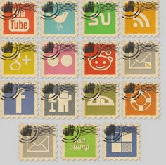 Postage Stamp Design Social Icon Pack
