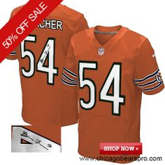 $129.99 Men's Nike Chicago Bears #54 Brian Urlacher Elite Orange NFL Alternate Autographed Jersey