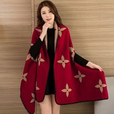 7ca2aaf490 Fashionable Ladies Winter Scarf Blanket Print Women Poncho Warm Wool  Ponchos And Capes Long Scarf Thick