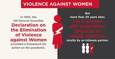 1 in 3 women still experience physical or sexual violence.
