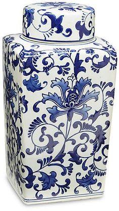 One Kings Lane Blue Floral Square Jar w/Lid One Kings Lane, Blue Dishes, Blue And White Vase, Blue Pottery, Pots, Fashion Room, White Decor, Vases Decor, Ceramic Painting