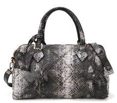 Black Snakeskin Zipper PU Leather Shoulder Bag