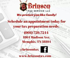 From electronic tax filing to nonprofit and business startup, #BrinsonTax has you covered! Schedule your appointment today! 901-729-7244