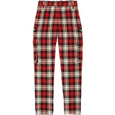 Joseph Jade checked wool-blend cargo pants (98.630 CLP) ❤ liked on Polyvore featuring pants, bottoms, jeans, red, red trousers, cropped cargo pants, tapered pants, red checkered pants and cropped trousers